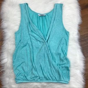 Three Dots Tops - Three Dots Blue Draped Crossover Wrap Tank Top